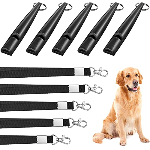 Weewooday 5 Pieces High Pitch Plastic Dog Whistles for Recall Training, Dog Training Whistle with Lanyards and Key Rings (Black)