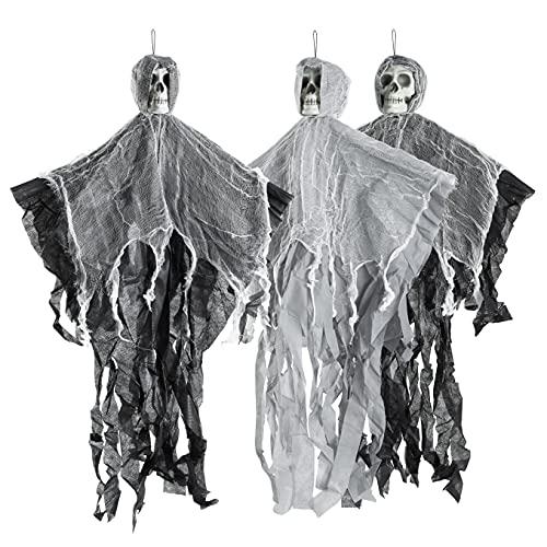 3 Esqueletos Fantasma Tenebrosos Colgantes - Cuelgan hasta 70 cm Desde el Techo | Fiestas de Halloween Accesorio