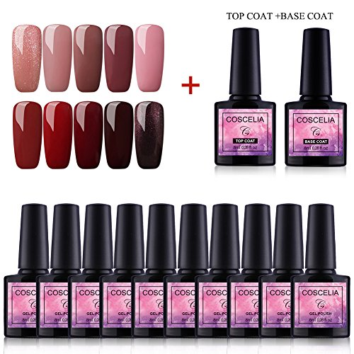 Saint-Acior 10 Farben Nail Art Gel Lack UV Nagellack Gelnägel Farbenset+ Top Base Coat
