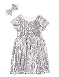 Silver White Toddlers Sequin Dress