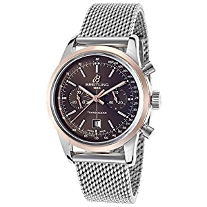 Breitling Men's Transocean Automatic Chronograph 38 Silver-Tone Steel Brown Dial