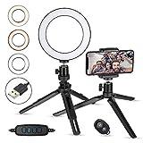 Zacro Selfie Ringleuchte Stativ mit Fernbedienung und Handyhalter, Selfie Ringlicht mit 3 Farbe und 10 Helligkeitsstufen, Portrait Light für schöne Fotos oder Videosschooting(6 Zoll) -