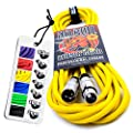 No Bull Music Gear' Premium XLR Cable (Yellow, 6m): Achieve a Clearer Audio Signal with a High Quality Balanced Male to Female Microphone Lead, plus Free Cable Tie