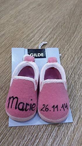 GILDE Babyschuhe Keramik zum Selbstgestalten rosa oder blau für Geburt + Taufe (rosa)