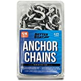 Better Boat 4 Foot 1/4' Stainless Steel Anchor Chain and Double Shackle Link Ends Marine Grade