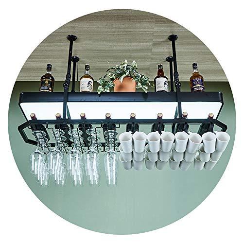 HAIYU- Schmiedeeisen Hängende Weinglas Rack Flaschenhalter Stemware Inhaber Verstellbare Decke Lagerregal mit Leuchtkasten für Küche, Bar und Pub, 3 Farben (Color : Black, Size : 80×27cm)