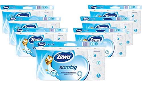Zewa Toilettenpapier Zewa Samtig, Riesenpackung, 7 X 8 Rollen Mit Je 140 Blatt, 7 Packungen