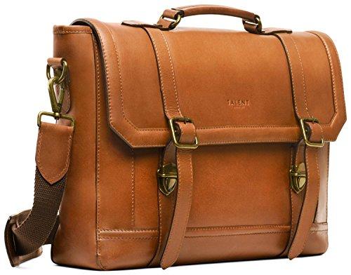 TALENT \'Luther\' Aktentasche - Umhängetasche Laptoptasche 15 Zoll Laptop Vintage Design Kalbsleder Cognac