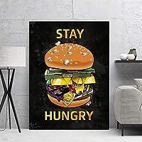 キャンバス絵画食品ハンブルクマネーウォッチ画像モダンな家の装飾壁アートプリントクリエイティブポスターリビングベッドルームアート装飾50X70cm20x28インチフレームなし