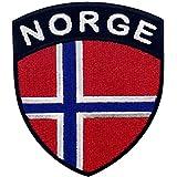 Bandera de escudo de Noruega Parche Bordado de Aplicación con Plancha