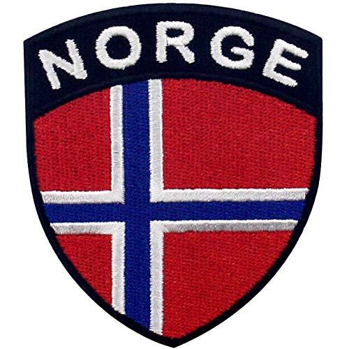 EmbTao Norwegen Schild Flagge Bestickter Aufnäher zum Aufbügeln/Annähen