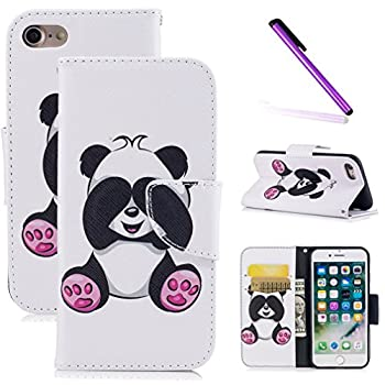LEECOCO iPhone 6S Plus Case iPhone 6 Plus Fancy Print Floral Wallet Case with Card Cash Slots [Kickstand] PU Leather Folio Flip Protective Case for iPhone 6S Plus 5.5 Cute Panda