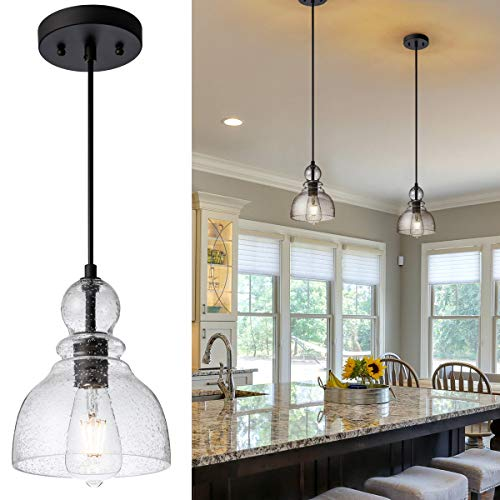 Mini Industrial Pendant Lights, Adjustable Indoor Bell Ceiling Lighting Handblown with Clear Seeded Glass Shade for Kitchen Sink Island Dining Room Bars Fixture (2-Pack)