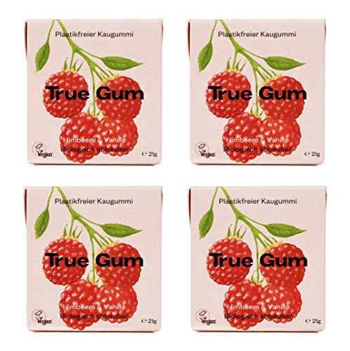 True Gum 4er SET: Himbeere & Vanille | Plastikfreier Kaugummi | Biologisch Abbaubar | Vegan | 4 x 21g, 84g