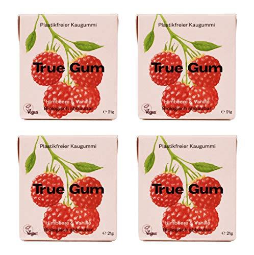 True Gum 4er SET: Himbeere & Vanille | Plastikfreier Kaugummi | Biologisch Abbaubar | Vegan | 4 x 21g