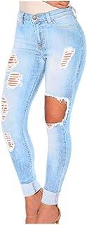FIRERO High Waist Light Blue Hollow Jeans Women Ladies Stretch Skinny Slim Hose Pants Trousers Leggings