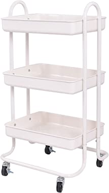 Giantex 3-Tier Rolling Kitchen Trolley Cart Portable Shelves Handle Storage Kitchen Steel Serving Island Utility
