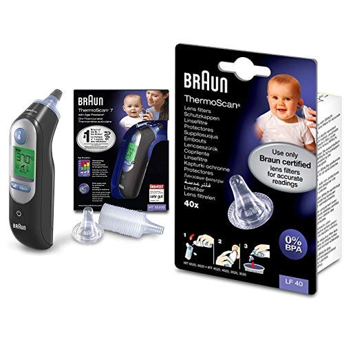 Braun ThermoScan 7 Black Edition - Termómetro de oído con Age Precision, color negro + Protectores de lente para termómetros de oído - Paquete de 40