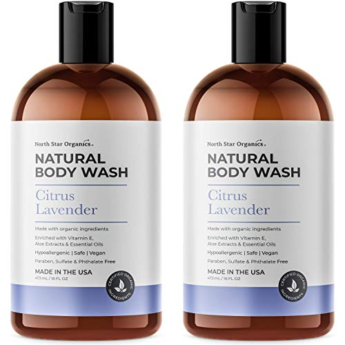 Natural Body Wash Lavender & Citrus, Made in USA, 2x16oz, Natural Bath & Shower Gel for Men and Women, Hypoallergenic, Vegan, Paraben, Sulfate & Phthalate Free, Cruelty free
