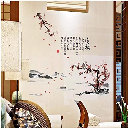 HDKSA Calcomanía extraíble de paisaje de flor de ciruelo de poesía china tradicional decoración de dormitorio Mural pegatinas de pared autoadhesivas póster