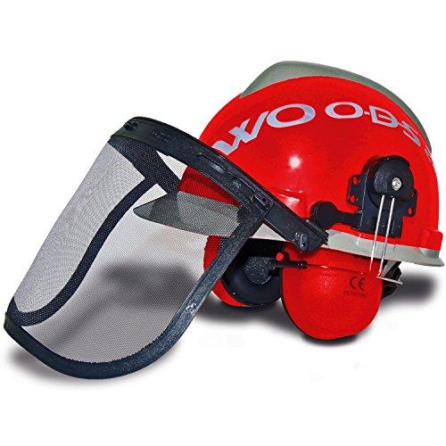 Bosbouwhelm WOODSafe® rood/grijs inclusief gehoorbescherming, klapvizier, nekbescherming - beschermhelm voor bosarbeiders volgens EN 397