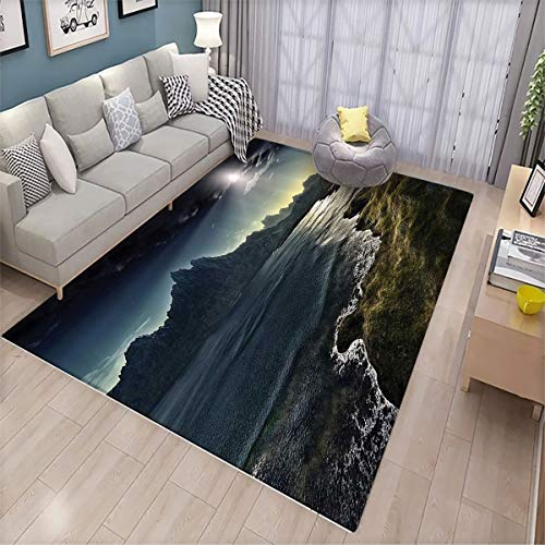 Balcony Floor mat,Fantasy House Decor Image of Dark Fantasy Landscape with Sunbeams Over Ocean Seacoast Cliff Mountain,Interesting Floor mat 170x260cm