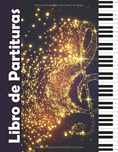 Libro de Partituras: Cuaderno de música con pentagramas en blanco para el piano
