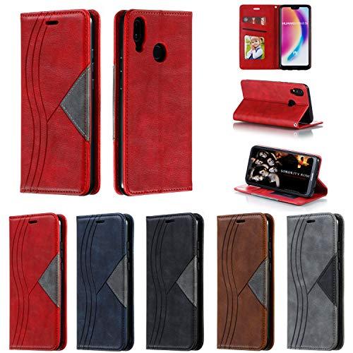 Hülle Handyhülle for Huawei P20 Lite/nova 3e, Premium Leder Flip Schutzhülle [Standfunktion] [Kartenfächer] [Magnetverschluss] lederhülle klapphülle für Huawei P20Lite - TTYKB040296 Rot