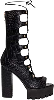 Women's Fashion Lace Up Platform Heel Sandal Boots - Open Toe Gladiator Block High Heels
