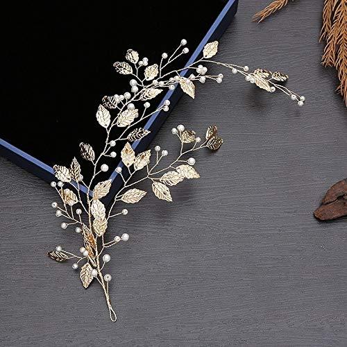 weichuang Diadema de hojas doradas, accesorio para el pelo de hoja bohemia,...