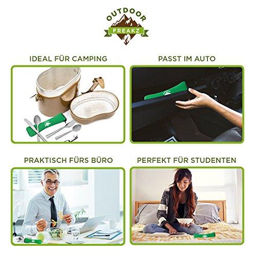 OUTDOOR FREAKZ Outdoor Reisebesteck und Campingbesteck aus Edelstahl mit Neoprenhülle (4er Set ++) - 5