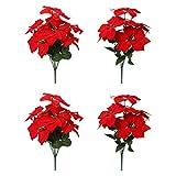 Tifuly 4 Stück künstliche Weihnachtsstern Blüten, gefälschte 7 Köpfe Weihnachtsdekoration Bouquet Blumen mit Stiel für Weihnachtsbaum Hausgarten Dekoration