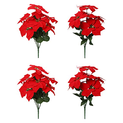 Tifuly 4 Piezas Artificial Poinsettia Flowers, Fake 7 Heads Christmas Decoration Bouquet Flowers with Stem for Christmas Tree Door Home Stair Garden Decoration