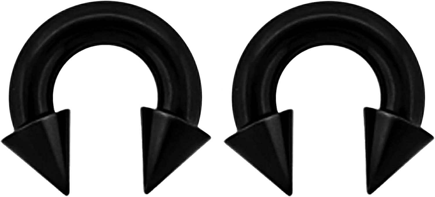 """Details about  /PAIR Black PVD Plated Surgical Steel Internally threaded Spike Horseshoe 2G 3//4/"""""""