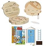 LA PUERTA MÁGICA del Ratoncito Pérez + Caja dientes de leche + pinzas + botella esterilizadora + escalera + plato + queso + felpudo + llave + dibujo fondo de puerta + postal (Azul Niña)