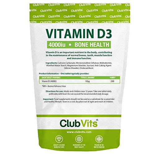 High Strength Vitamin D3 4000iu Tablets One a Day Cholecalciferol VIT D3 - Vegetarian Supplement - Made in The UK by ClubVits (90)