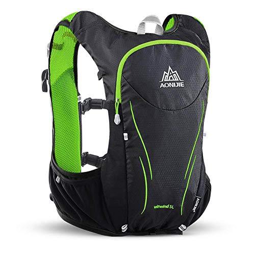 WANGIRL Running Hydration Bag 5L Hidratación Mochila Light Hydration Vest para Senderismo Marathoner Hombre Mujer,Verde,L/XL