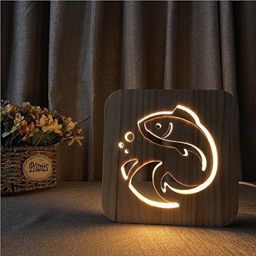 OOFAY Night Light@ LED Veilleuse 3D Illusion Lampe Personnalité Petit Poisson Rouge Lumières Sculpture Art du Bois Lampe De Tableau/Lumière d'alimentation D'usb+Ligne De Données(avec Interrupteur)