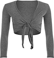 WearAll Nieuw Dames Shrug Tie Up lange mouw Top Womens Szs 8-14