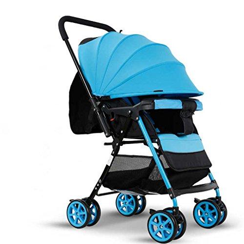 Sistema de viaje Cochecitos de bebé ultraligero plegable puede sentarse puede tumbarse alto paisaje paraguas bebé carro verano e invierno cochecito (color: azul)