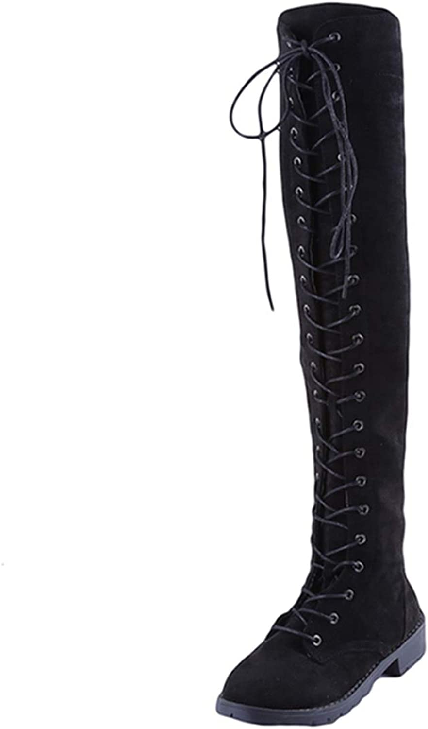 DOSOMI Womens Sexy Suede Lace Up Zipped Over The Knee Thigh High Boots Flats Long Booties