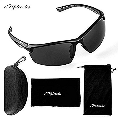 i.Molecules Driving Polarized Sports Sunglasses for Men and Women with UV400 Protection, Anti-Fog Patented Technology. Lifetime Breakage Guarantee (Black)