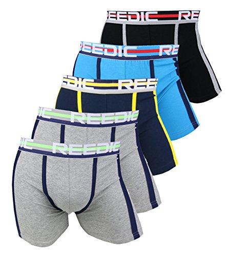Reedic Herren Boxershorts Baumwolle 5er Pack, Größe Large (L), Farbe je 2X grau, je 1x schwarz, dunkelblau, türkis