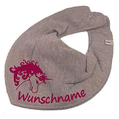 Elefantasie Elefantasie HALSTUCH Einhorn mit Namen oder Text personalisiert grau für Baby oder Kind