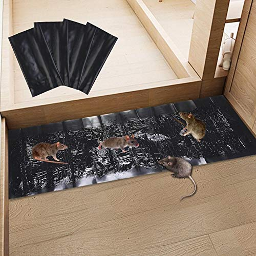 NULINULI Ratten-Klebepad-Falle, großes, leistungsstarkes,Mäusefallen, Mausbrett, Klebefallen für Mäuse, klebrige Mauspads, Insektenfänger,für den Innen- und Außenbereich (4 StüCk).