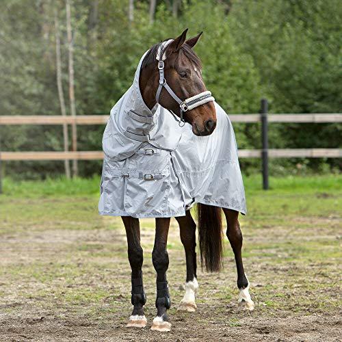horze Nevada Sommerdecke/Fliegendecke für Pferde, leichte Regen-Weidedecke, 600D, Grau, 135