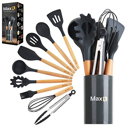 Max K Kitchen Utensil Set - 10-Piece Utensils with Silicone Tips, Wooden Handles, & Countertop Holder - FDA-Grade Tools for Frying, Cooking, Mixing, Serving Dishes - Best for Nonstick Pots & Pans
