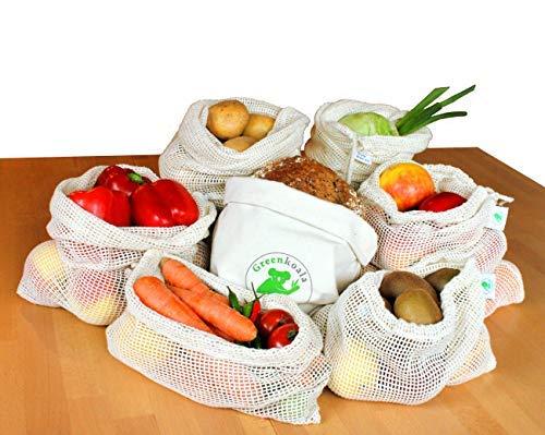 Greenkoala Obst- und Gemüsebeutel wiederverwendbar aus Biobaumwolle | Gemüsenetze Einkaufsnetze inkl. Einkaufstasche & Brotbeutel | umweltfreundlich - plastikfrei einkaufen - 8er Set