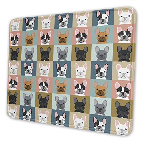 Mouse Pad French Bulldogs Dog Office Accessories Rectangle Waterproof Mousepad with Stitched Edge Premium-Textured Non-Slip Rubber Base 10×12 inch Mouse Mat
