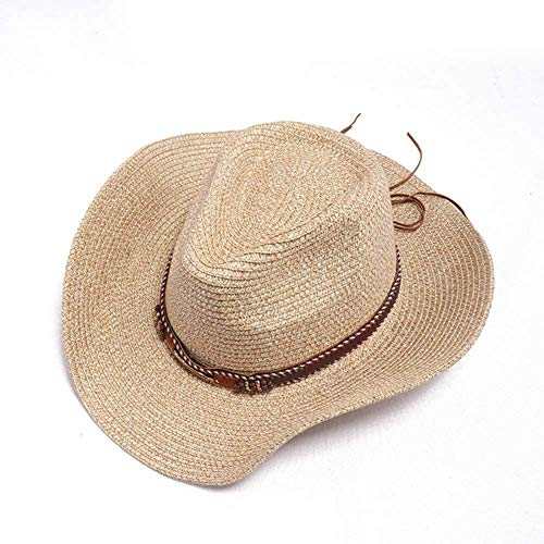 Men Women Straw Cowboy Hat Western Natural Straw Hat UV Protection Summer Wide-Brimmed Beach Hat Sun Hat Outdoor Travel Fishing,Beige